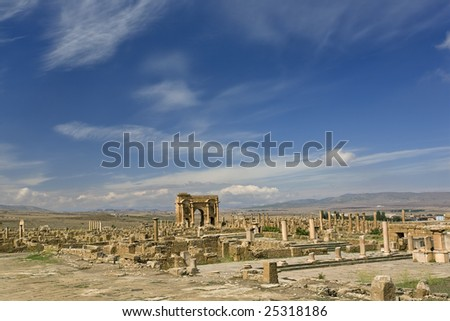 Algeria. Timgad (ancient Thamugadi or Thamugas). General view of Roman city with Trajan's Arch in central point