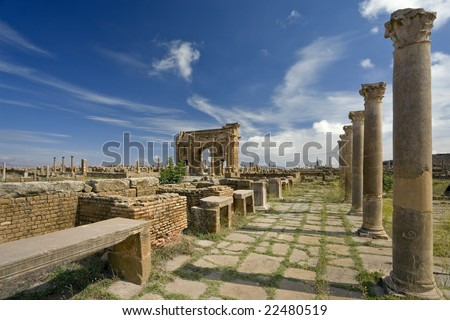 Algeria. Timgad (ancient Thamugadi or Thamugas). The Sertius market with stone stalls surrounded by Corinthian columns