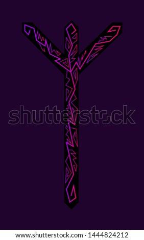 Algiz Elgiz rune. Ancient Scandinavian runes. Runes senior futarka. Magic, ceremonies, religious symbols. Predictions and amulets.