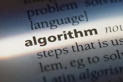 Algorithm word in a dictionary. Algorithm concept