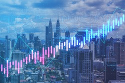 Algorithmic technology concept with digital screen with growing financial chart graphs and circuit on megapolis city background. Double exposure