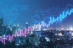 Algorithmic trading concept with digital growing stock market chart candlestick and microcircuit on city background. Double exposure