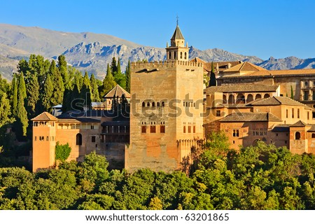 Alhambra at sunset, Granada, Spain