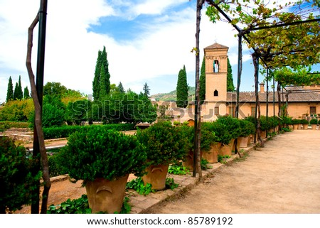 Alhambra courtyard. Granada, Spain