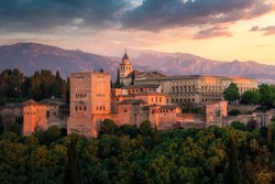 Alhambra fortification at dusk, Granada, Andalusia, Spain