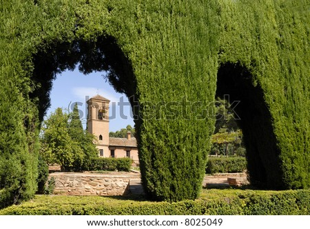 Alhambra in Granada Spain.This is an UNESCO World Heritage site - stock photo