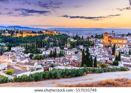 Alhambra of Granada, Spain. Alhambra fortress and Albaicin quarter at twilight. #557010748