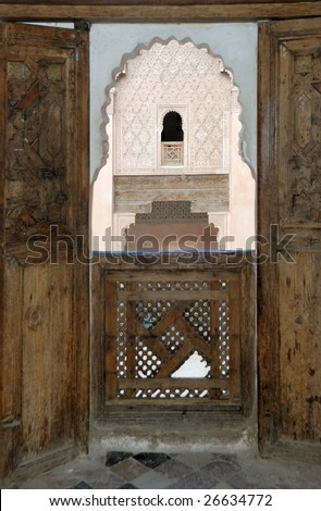 Ali Ben Youssef Madrassa in Marrakech, Morocco.This is a very old Koran school.