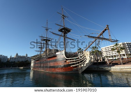 ALICANTE, SPAIN - MAY 2: Santisima Trinidad - spanish ship from XVIII century in the port of Alicante. 2nd May 2012 in Alicante, Province of Valencia, Spain