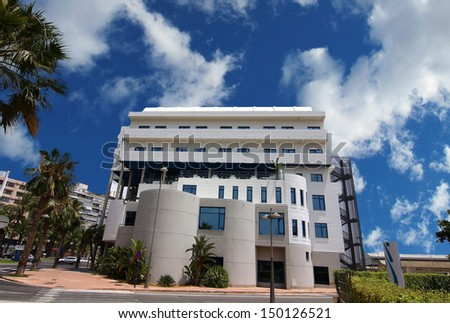 ALICANTE, SPAIN OCT 20: modern architecture in a building with large curved areas on October 20 2012