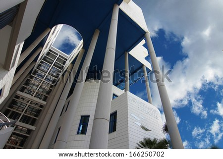 ALICANTE, SPAIN OCT 20: modern architecture in a building with large curved areas on October 20 2012, Building business center of the city of Alicante recently opened.
