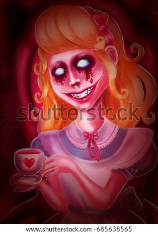 Alice in wonderland.Crazy tea drinking. Blood from the eyes