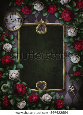 Alice in Wonderland. Red  roses and white roses on  chess background. Clock and key.