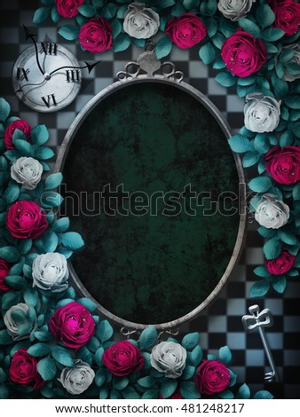 Alice in Wonderland. Red  roses and white roses on  chess background. Clock and key. Rose flower frame.  Oval frame. Wonderland background. Wonderland wallpaper. Illustration