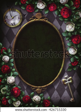 Alice in Wonderland. Red  roses and white roses on  chess background. Clock and key. Wonderland background. Rose flower frame. Oval frame.Illustration