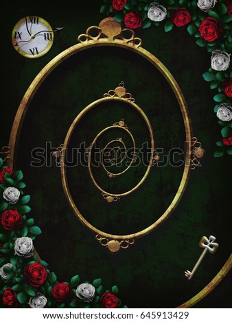 Alice in wonderland. Red  roses and white roses on  chess wonderland background. Clock and key and spiral frame. Rose flower frame. Illustration. The Droste Effect