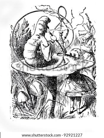 "Alice speaking with the smoking caterpilla. Engraving by John Tenniel (United Kingdom, 1872). Illustration from book """"Alice's Adventures in Wonderland"", publisher ""Nauka"" Moscow, USSR, 1979 - stock photo"