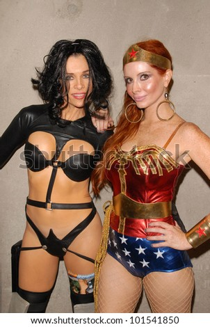 Alicia Arden as Aeon Flux with Phoebe Price as Wonder Woman at San Diego Comic Con, San Diego Convention Center, San Diego, CA. 07-24-10