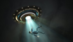 Alien abduction concept. Young man is abducted by UFO.