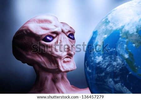 alien and planet Earth