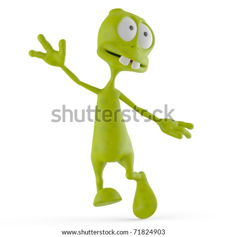 alien cartoon happy walking