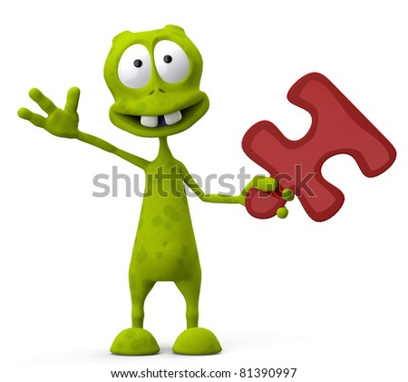 alien cartoon holding a red puzzle