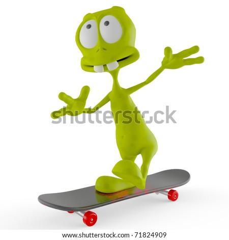 alien cartoon skate - stock photo