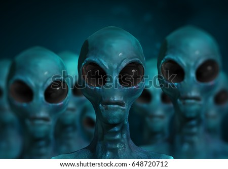 Alien character and UFO visitor and extraterrestrial humanoid creature sighting concept as a symbol for the search for intelligent life as a 3D illustration