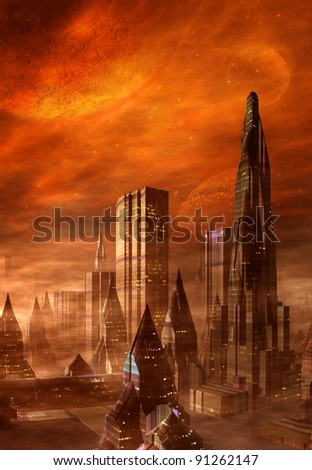 Alien City, fantasy city skyline on an alien planet