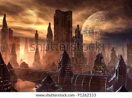 Alien City, fantasy city skyline on an alien planet