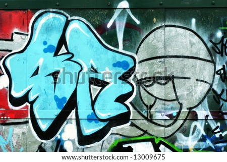 graffiti characters spray cans. stock photo : alien graffiti