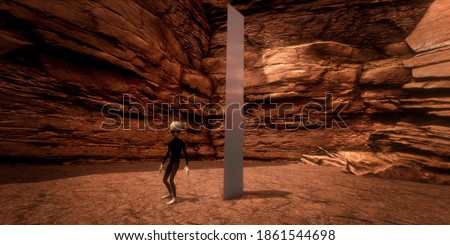 Alien Monolith Metal Object with Grey Alien in the desert. Extremely detailed and realistic high resolution 3d image.