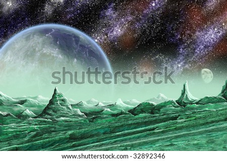 Alien moon and planet