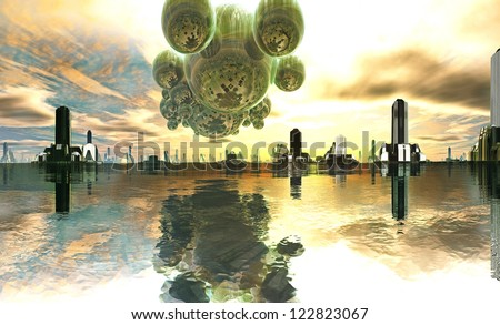 Alien Mother-ship over Futuristic City