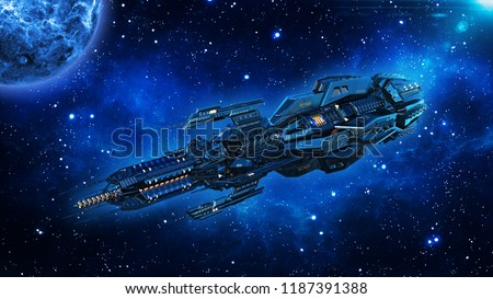 Alien mothership, spaceship in deep space, UFO spacecraft flying in the Universe with planet and stars, 3D rendering