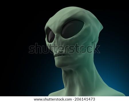 Alien on dark background