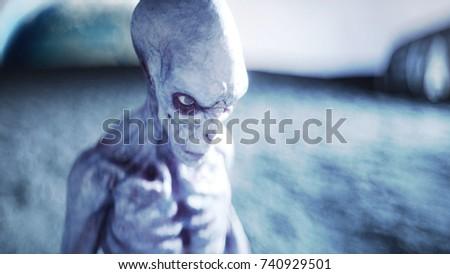 Alien on planet, moon. Earth on backgound. UFO. 3d rendering.