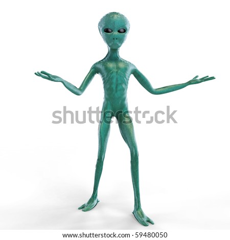 Alien on the white background