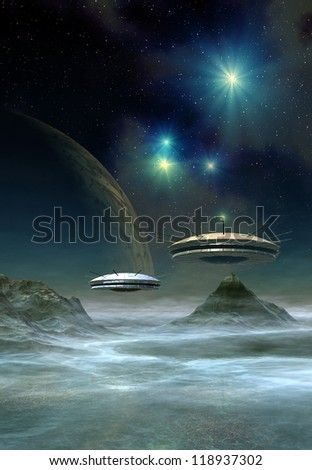 Alien Planet And Spaceships, Computer Artwork