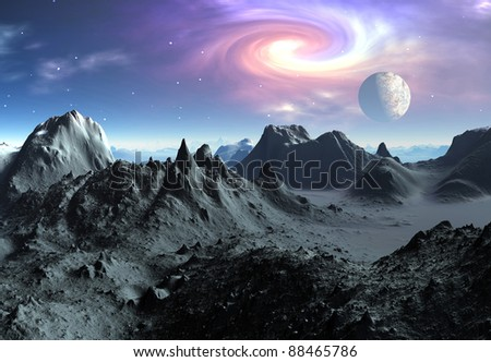 Alien Planet Aries part 2, volcanic fantasy landscape with mountains and lakes, moon and mystic sky in the background