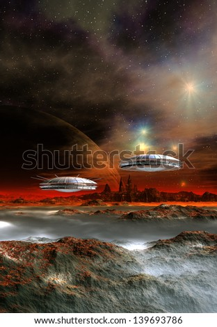 Alien Planet 3D Rendered Computer Artwork