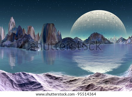 Alien Planet, fantasy alien planet with mountains and a space station