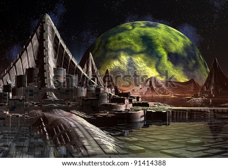 Alien Planet Hadara, fantasy city somewhere in the universe