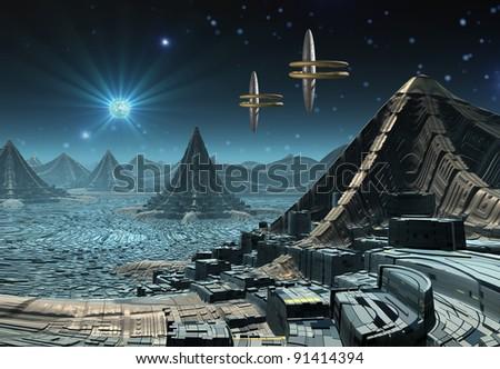 Alien Planet Hadara, fantasy city somewhere in the universe