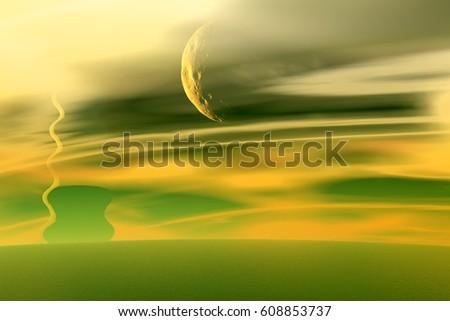 Alien Planet. Landscape of stranger planet. Desert. 3D rendering  #608853737