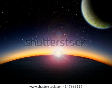 Alien planet ocean at sunrise or sunset with 2 close moons in orbit. Sci-fi Fantasy artwork. #147666197
