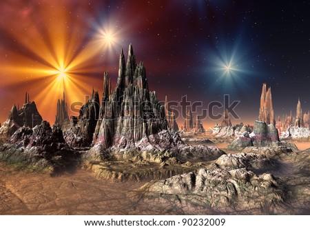 Alien Planet Talos, fantasy landscape somewhere in the universe