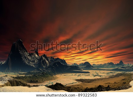 Stock Photo Alien Planet Traos part 02, fantasy planet with a rocky and dry surface