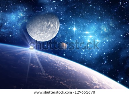 Alien Planet With Moons Computer Artwork