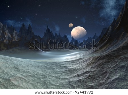 Alien Planet with Moons, fantasy planet somewhere in the universe - stock photo